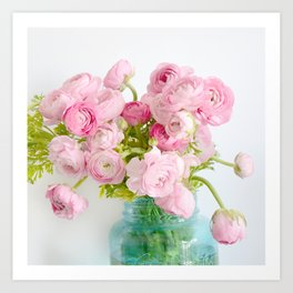 Dreamy Shabby Chic Ranunculus Peonies Roses Print - Spring Summer Garden Flowers Mason Jar Art Print