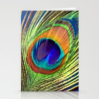 peacock feather Stationery Cards featuring peacock feather by mark ashkenazi