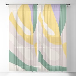 Monstera pastel purple overlay Sheer Curtain