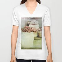 vintage flowers V-neck T-shirts featuring Vintage Street Flowers by Victoria Herrera
