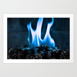 Ashes and Flames Blue Art Print
