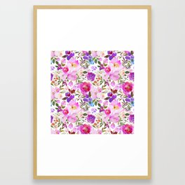 Elegant blush pink violet lavender watercolor summer floral Framed Art Print