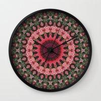 spiritual Wall Clocks featuring Spiritual Rhythm Mandala by Elias Zacarias