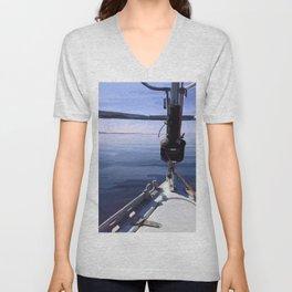 """""""Seeking the Horizon"""" - Sailboat Painting Unisex V-Neck"""
