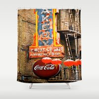 coca cola Shower Curtains featuring CHINESE COCA COLA SIGNBOARD by Voodoo Bench