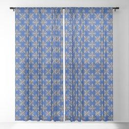Medieval Iron Crosses Pattern Sheer Curtain