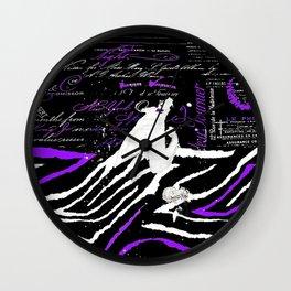 Animal Print Purple and Black Seduced in Paris 2 Wall Clock