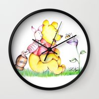 winnie the pooh Wall Clocks featuring Winnie the Pooh & Piglet by laura nye.