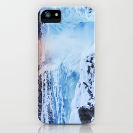 Frozen Gullfoss Falls in Iceland in winter at sunset iPhone Case