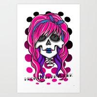 rockabilly Art Prints featuring 'Rockabilly skull' by NeonStarr