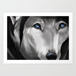 Blue Eyed Wolf Art Print