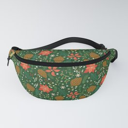 Winter Florals - Green Fanny Pack