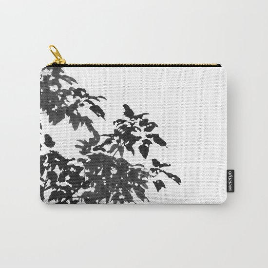 Leaves Silhouette - Black & White Carry-All Pouch