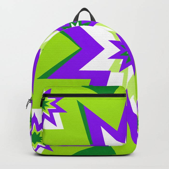 d2cb58e34a2c Star Graphic Green and Purple Pattern Backpack by saundramyles ...