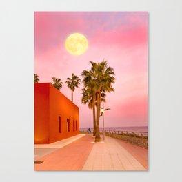 Super Moon At Sunset Canvas Print