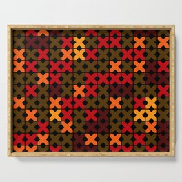 An abstract geometric pattern . Rustic . Serving Tray