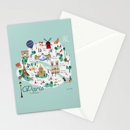 Paris Illustrated Map Stationery Cards