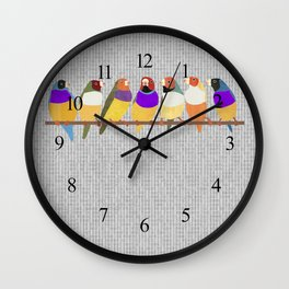 Lady Gouldian Finches Wall Clock