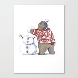 Bear with snowman Canvas Print