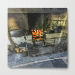Olde Kitchen Fire Metal Print