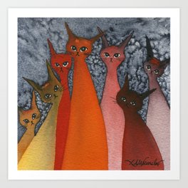 Casablanca Whimsical Cats Art Print