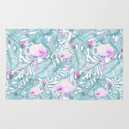 Neon pink green watercolor flamingo tropical leaves Rug