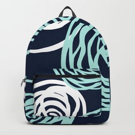 Floral Rose Modern Abstract Navy Aqua Backpack