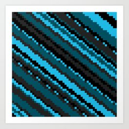 Blue Gray and black abstract Art Print