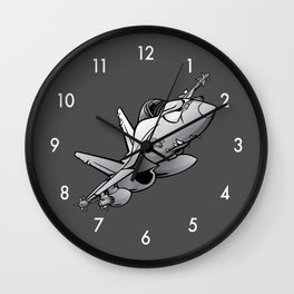 F/A-18 Hornet Military Fighter Jet Airplane Cartoon Wall Clock