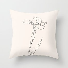Pink Flower Petal One Line Art Throw Pillow