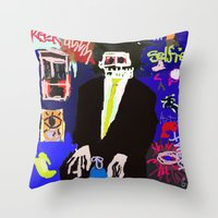 basquiat Throw Pillows featuring My Basquiat by Robert Morris