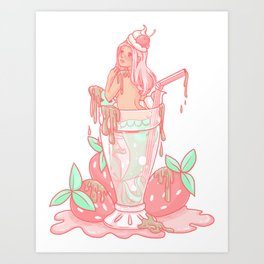 Strawberry Mermaid Shake Art Print