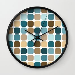 Mid Century Modern Rounded Square Small Tile Pattern // Brown, Caribbean Blue, Aqua Wall Clock