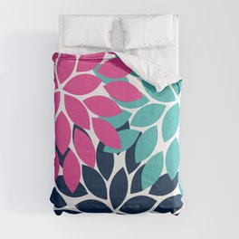 Bold Colorful Hot Pink Turquoise Navy Dahlia Flower Burst Petals Comforters