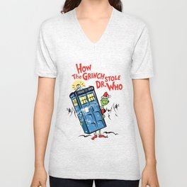 How the Grinch Stole Dr Who (on Light) Unisex V-Neck