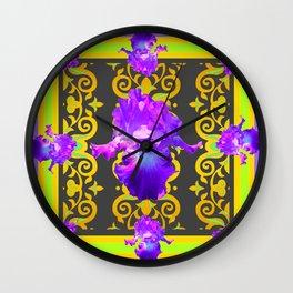 Chartreuse-Purple Iris pattern Design Wall Clock