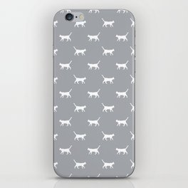 Cat silhouette cat lady cat lover grey and white minimal modern pet silhouette pattern iPhone Skin