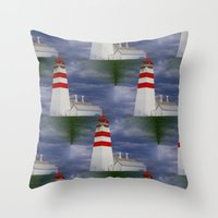 lighthouse Throw Pillows featuring Lighthouse by Ellyne