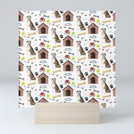 Catahoula Leopard Dog Half Drop Repeat Pattern Mini Art Print