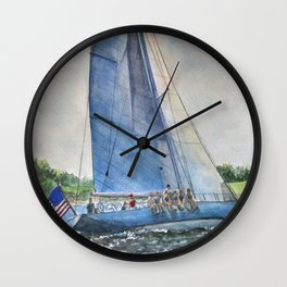 Sailing on Columbia 12 US 16 Wall Clock