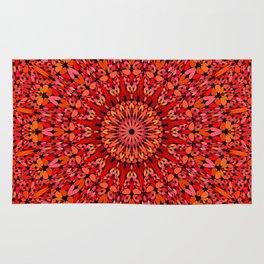 Red Geometric Bloom Mandala Rug