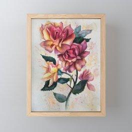 Fresh Tea Roses Framed Mini Art Print