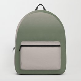 Taupe and Sage Green Ombre Gradient Fading Backpack