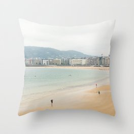 La Concha Beach, San Sebastian - Donostia-San, Spain Throw Pillow
