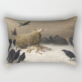 Anguish - August Friedrich Albrecht Schenck - Ravens and Sheep Rectangular Pillow