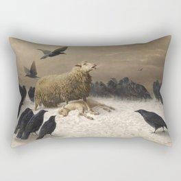 Anguish - August Friedrich Albrecht Schenck - Ravens and Sheep Rectangular Pillow