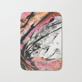 Motivation: a colorful, vibrant abstract piece in pink red, gold, black and white Bath Mat