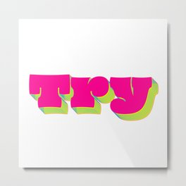Try (Magenta & Yellow palette) Metal Print