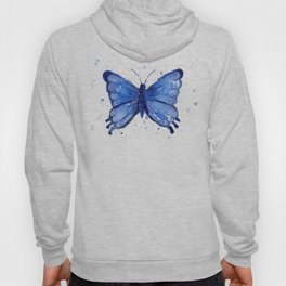 Butterfly Blue Watercolor Animal Painting Hoody
