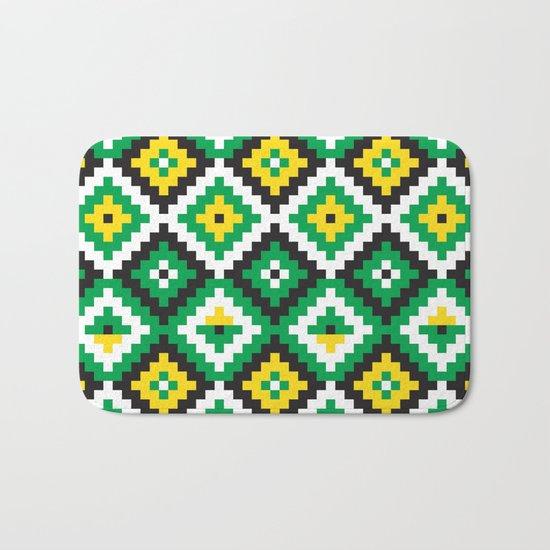 Aztec pattern - green, yellow, black, white Bath Mat